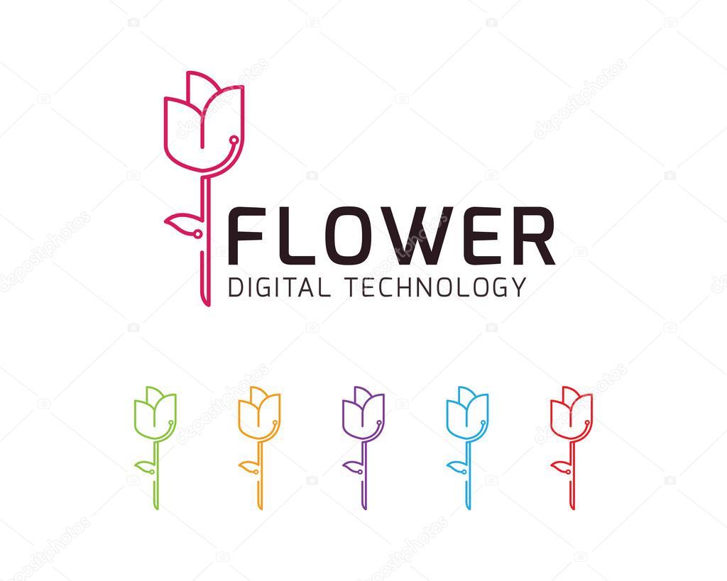 Logo Vectoriel Numerique Technologie De Fleur Image Vectorielle