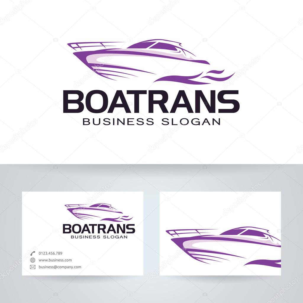 boat trans vector logo with business card template stock vector