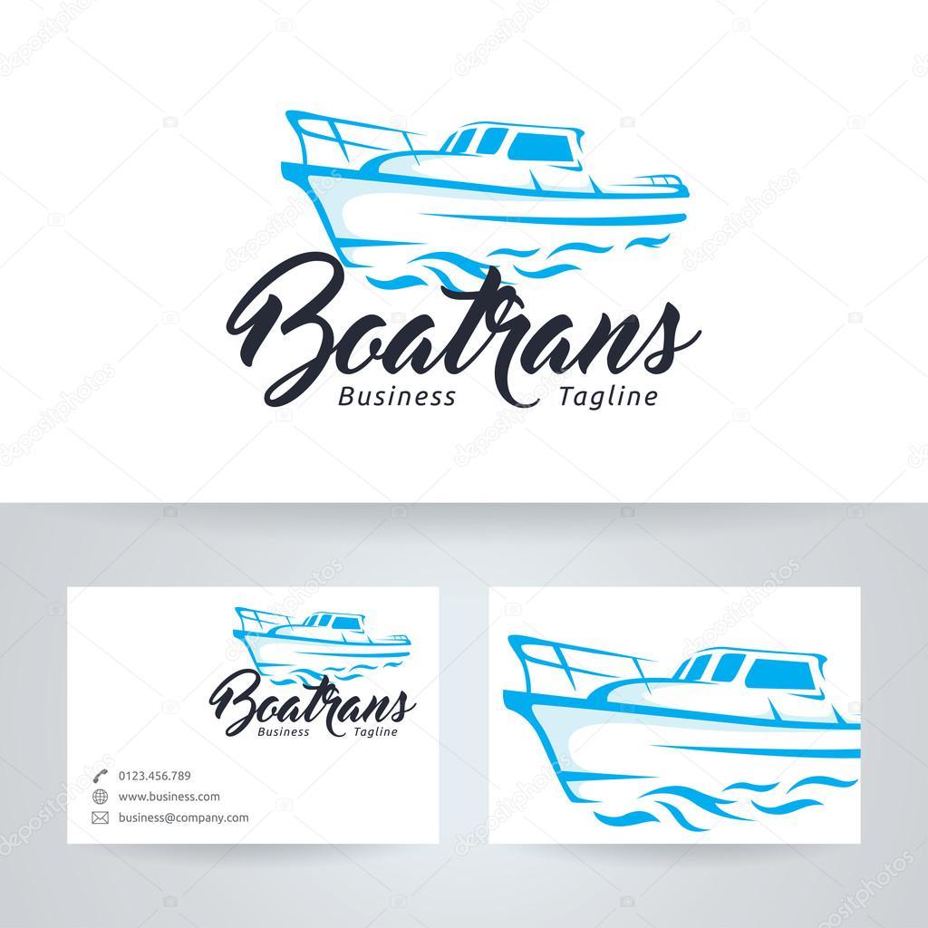 Bateau Trans Vector Logo Avec Le Modele De Carte Visite Illustration Stock