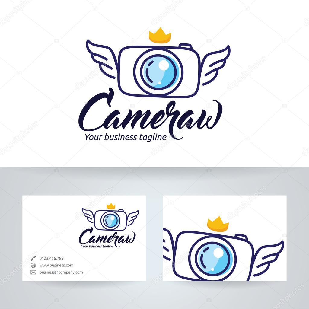 Ailes De Lappareil Photo Vector Logo Avec Le Modle Carte Visite