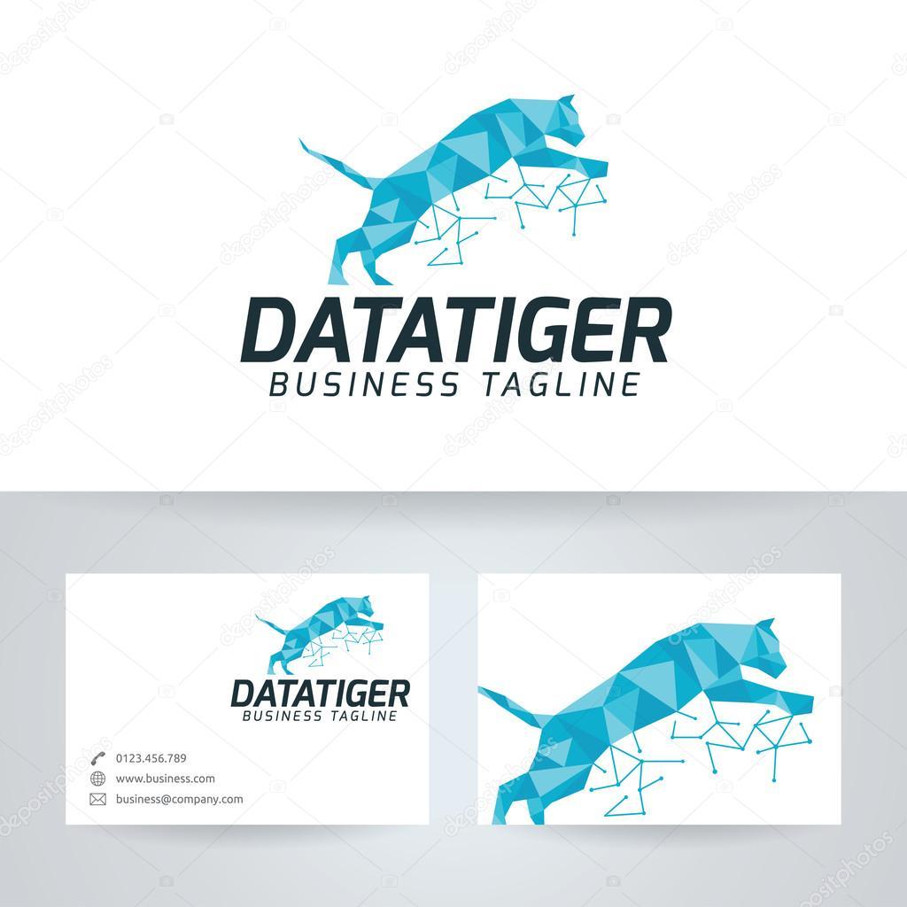 Tigre De Donnes Vector Logo Avec Le Modle Carte Visite Image Vectorielle