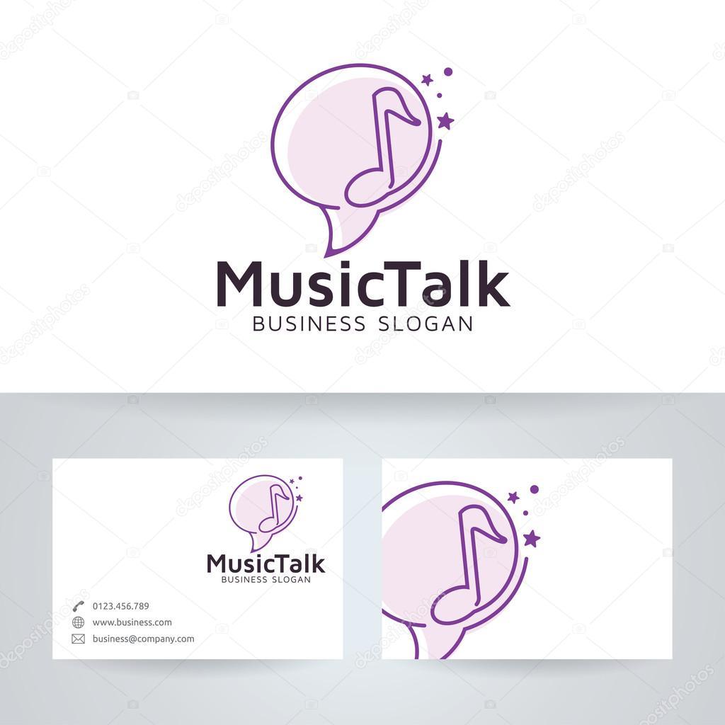 Logo De Vectoriel Parler Musique Avec Modle Carte Visite Image Vectorielle
