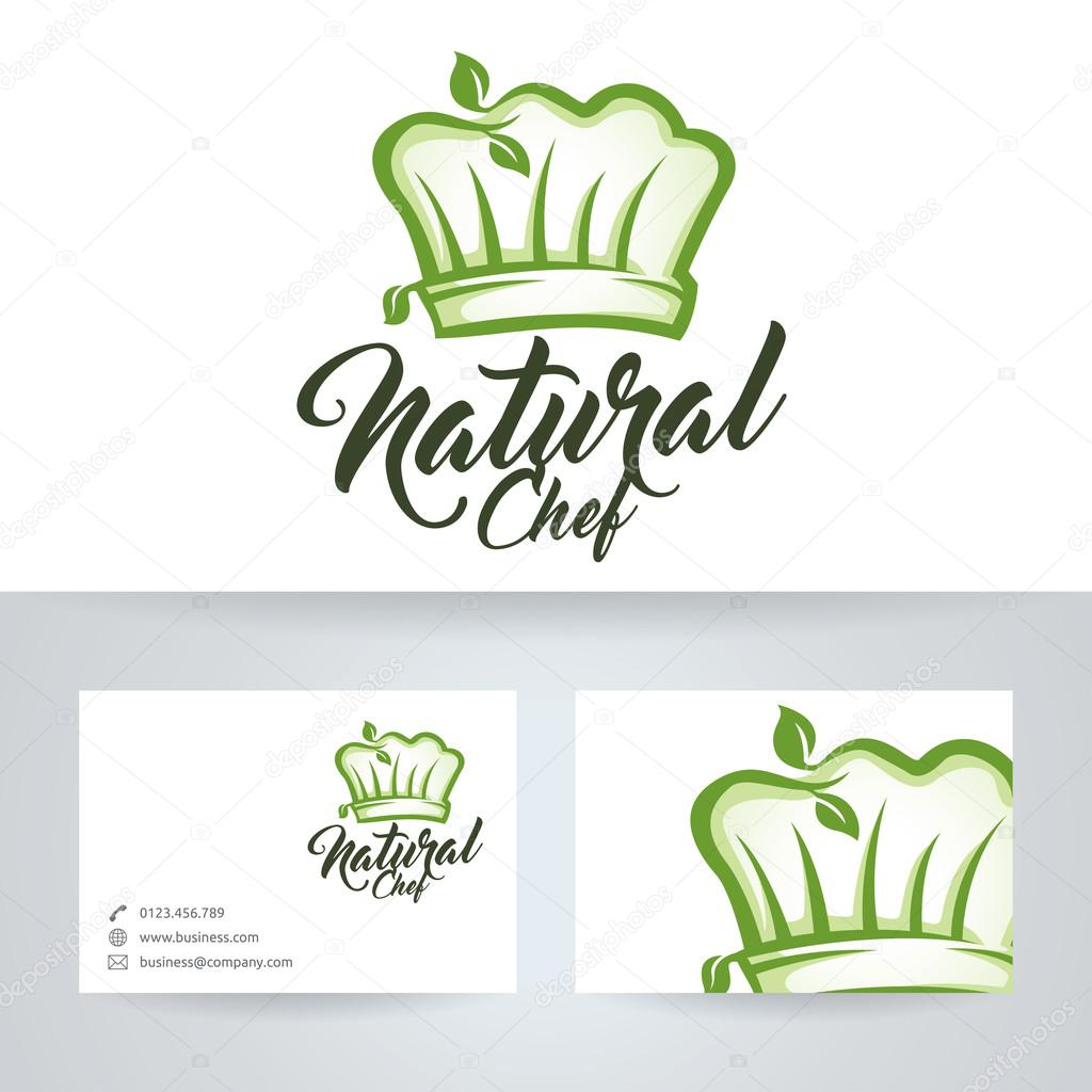 Natural chef vector logo with business card template
