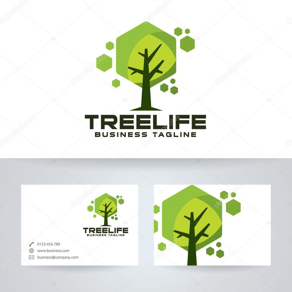 Arbre Vie Vector Logo Avec Le Modele De Carte Visite Illustration Stock