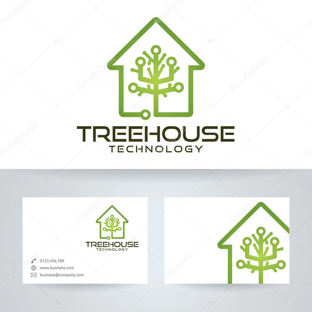 Tree house technology vector logo with business card template tree house technology vector logo with business card template stock vector cheaphphosting Gallery