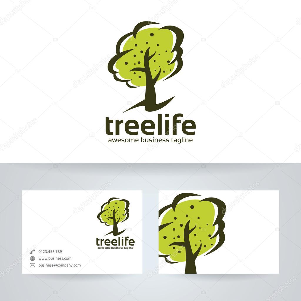 Arbre Vie Vector Logo Avec Le Modle De Carte Visite Image Vectorielle