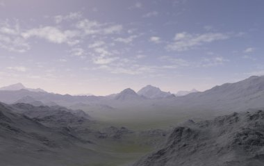 A 3d generated landscape with mountains in the background