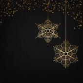 Elegantní černé a antracitové zimní pozadí se zlatými sněhovými vločkami a jiskry. Vánoční přání.