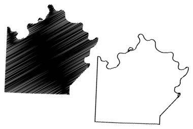 Saline County, Missouri (U.S. county, United States of America, USA, U.S., US) map vector illustration, scribble sketch Saline map icon