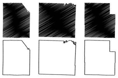 Washington, Vernon and Texas County, Missouri (U.S. county, United States of America, USA, U.S., US) map vector illustration, scribble sketch map icon