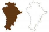 Kreis Aichach-Friedberg (Bundesrepublik Deutschland, Landkreis Schwaben, Freistaat Bayern) Kartenvektorillustration, Kritzelskizze Aichach-Friedberg Karte