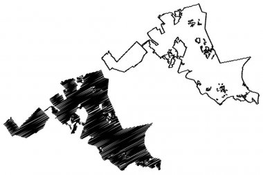 North Charleston City, South Carolina (United States cities, United States of America, usa city) map vector illustration, scribble sketch City of North Charleston map