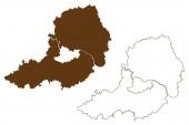 Landkreis Straubing-Bogen (Bundesrepublik Deutschland, Landkreis Niederbayern, Freistaat Bayern) Kartenvektorillustration, Kritzelskizze Straubing Bogen Karte