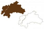 Landkreis Weilheim-Schongau (Bundesrepublik Deutschland, Landkreis Oberbayern, Freistaat Bayern) Kartenvektorillustration, Kritzelskizze Karte Weilheim-Schongau