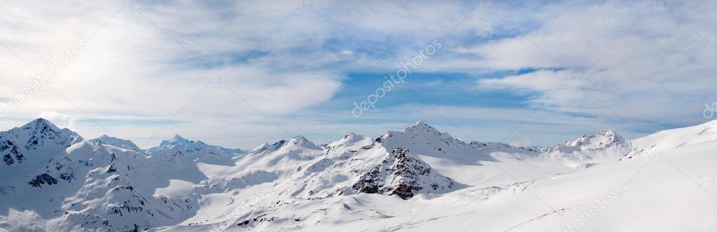 ELBRUS, RUSSIA: A Panoramic View of Snowy Caucasus Mountain Range near Elbrus