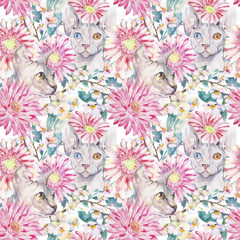 Gerber, Chrysanthemum, Egyptian cat, Sphinx.Blooming apple tree. Watercolor seamless pattern.