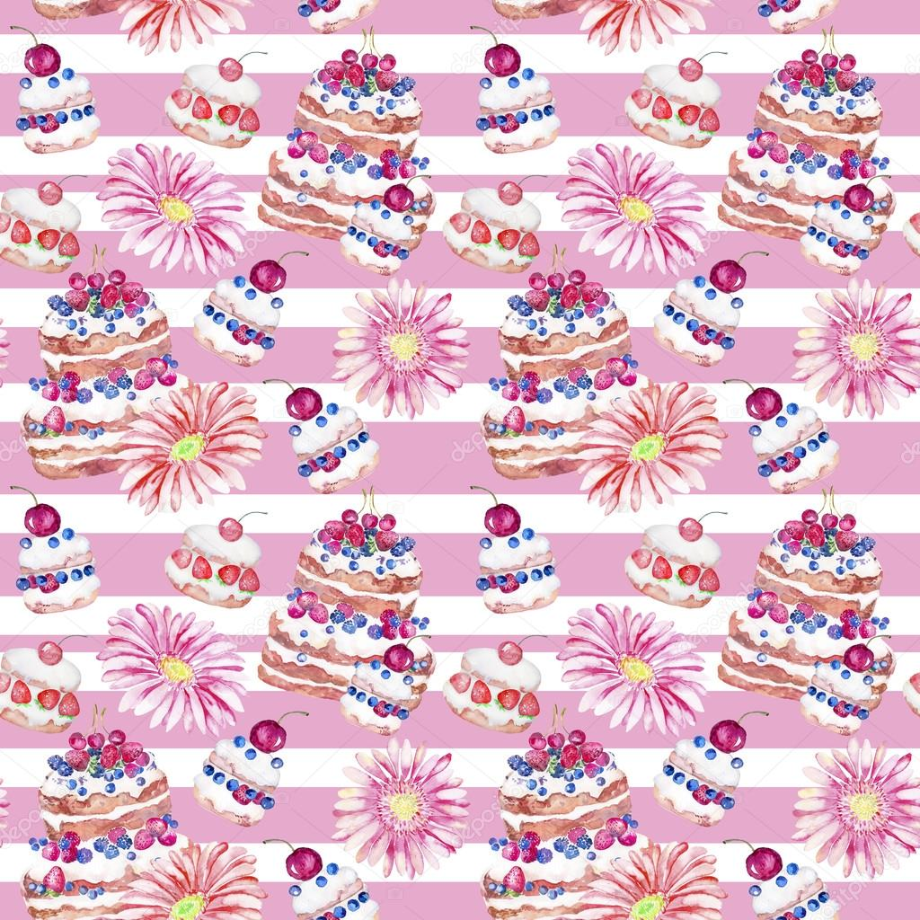 Cake, food, sweets, flowers. Watercolor seamless pattern.
