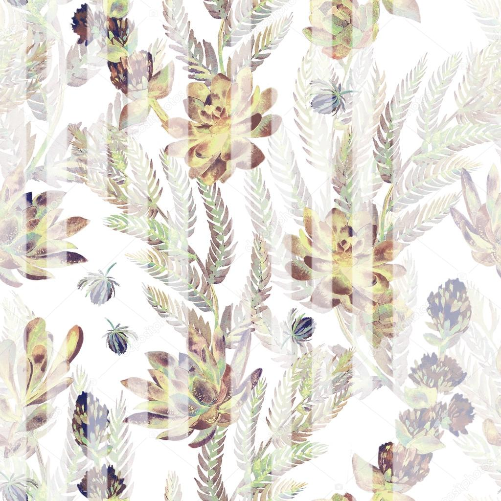 Floral seamless pattern. Succulents, ferns, thorns.