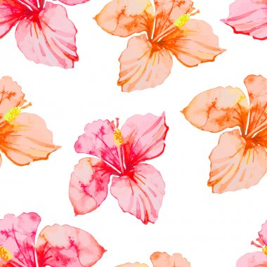Hibiscus. Tropical plants seamless pattern. Exotic flower.  Watercolor.