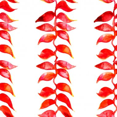 Heliconia watercolor pattern. Vector. Tropical pattern.