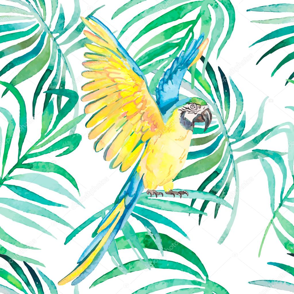 Tropical birds and plants seamless pattern. Watercolor vector. Transparent background.