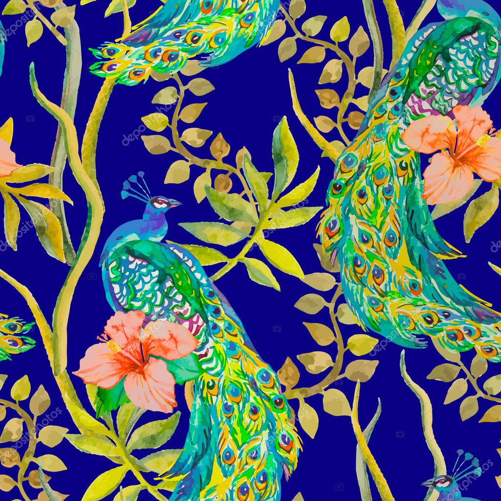 Beautiful peacock pattern. Vector. Peacocks and plants, tropical flowers,hibiscus .