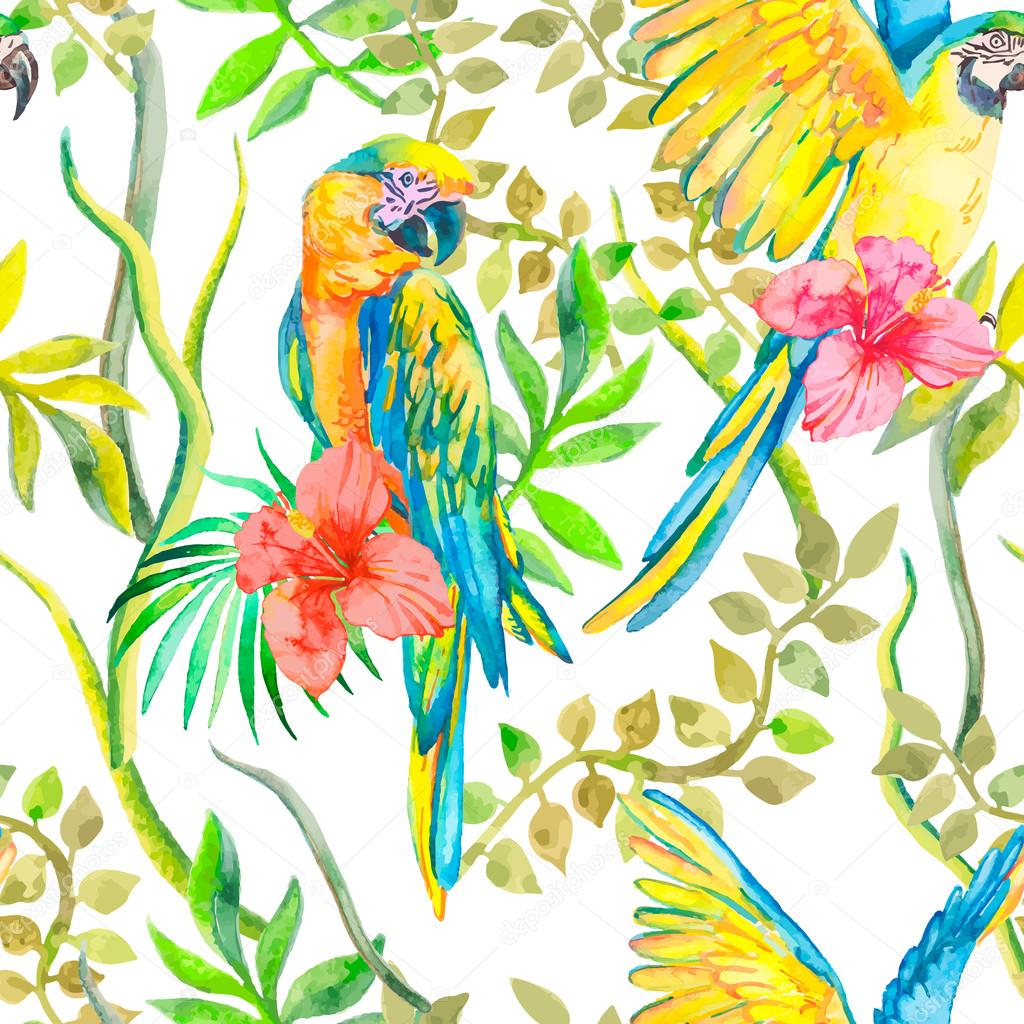 Macaw seamless pattern. Topical flower and leaves, hibiscus. Tropical parrot. Exotic. Vector for your design.
