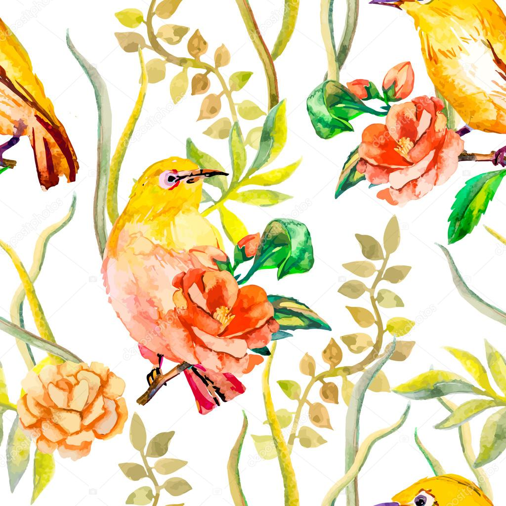 Watercolor pattern. Tropical and flowers. White-eye bird, camellia. Vector