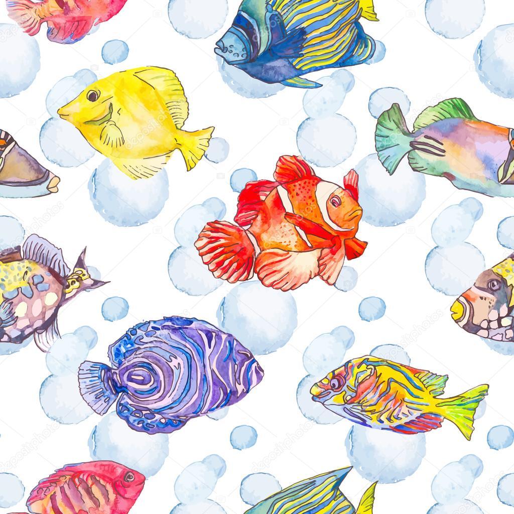 海のパターン。熱帯の魚。クラ ゲ。海 — ストックベクター