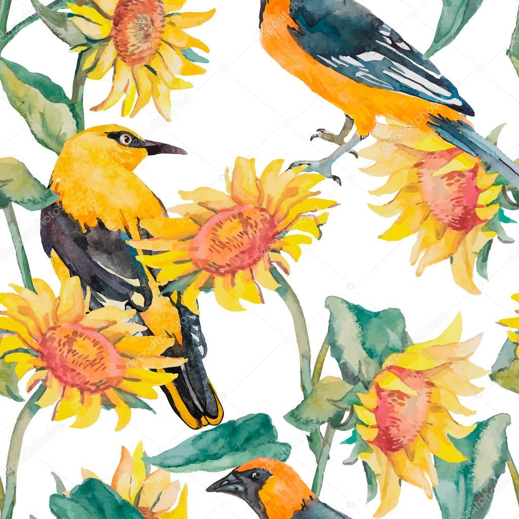 ひまわりとオリオール パターン水彩画。エキゾチックな鳥。水彩画