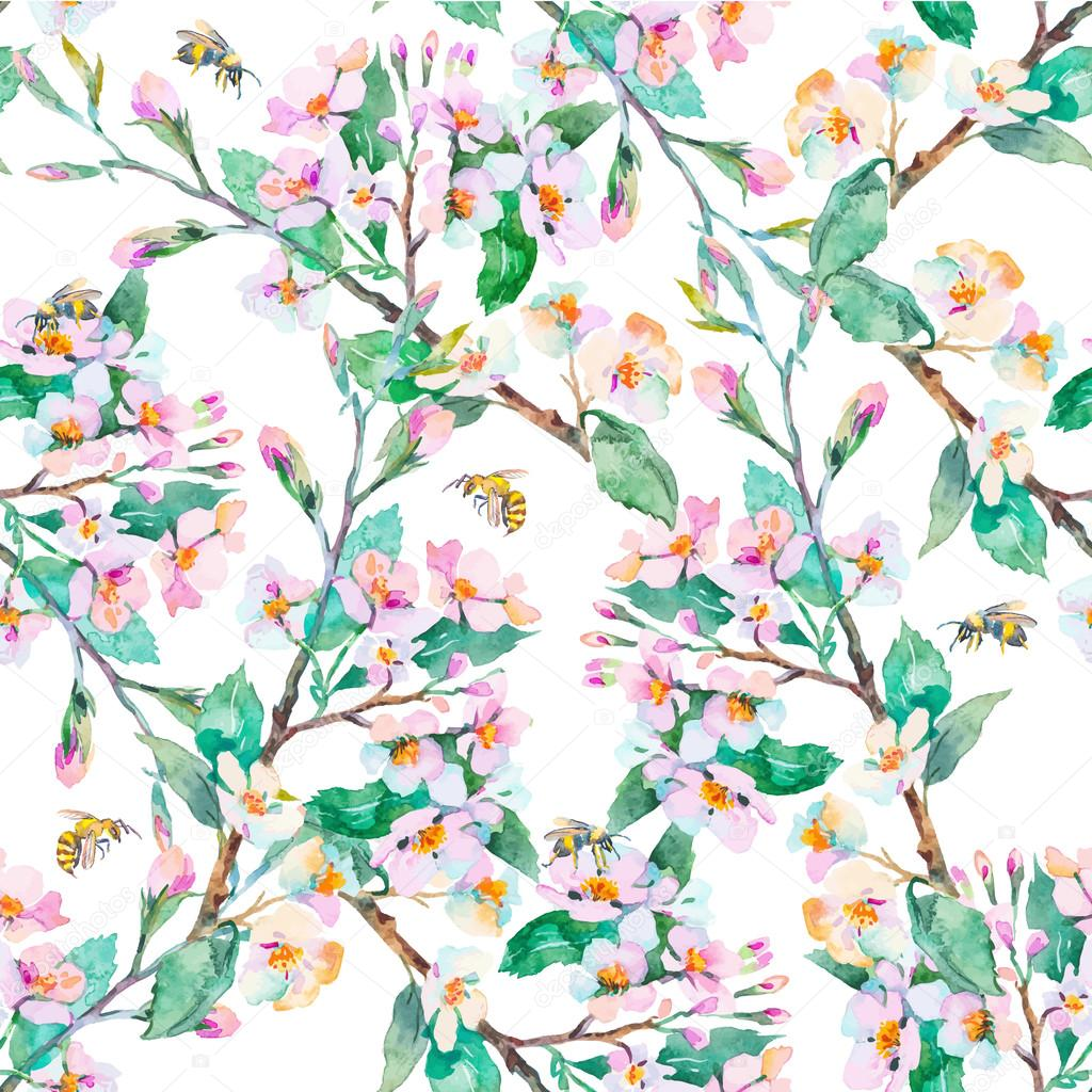 Spring pattern.Flowering branches and bees. Watercolor. Vector.