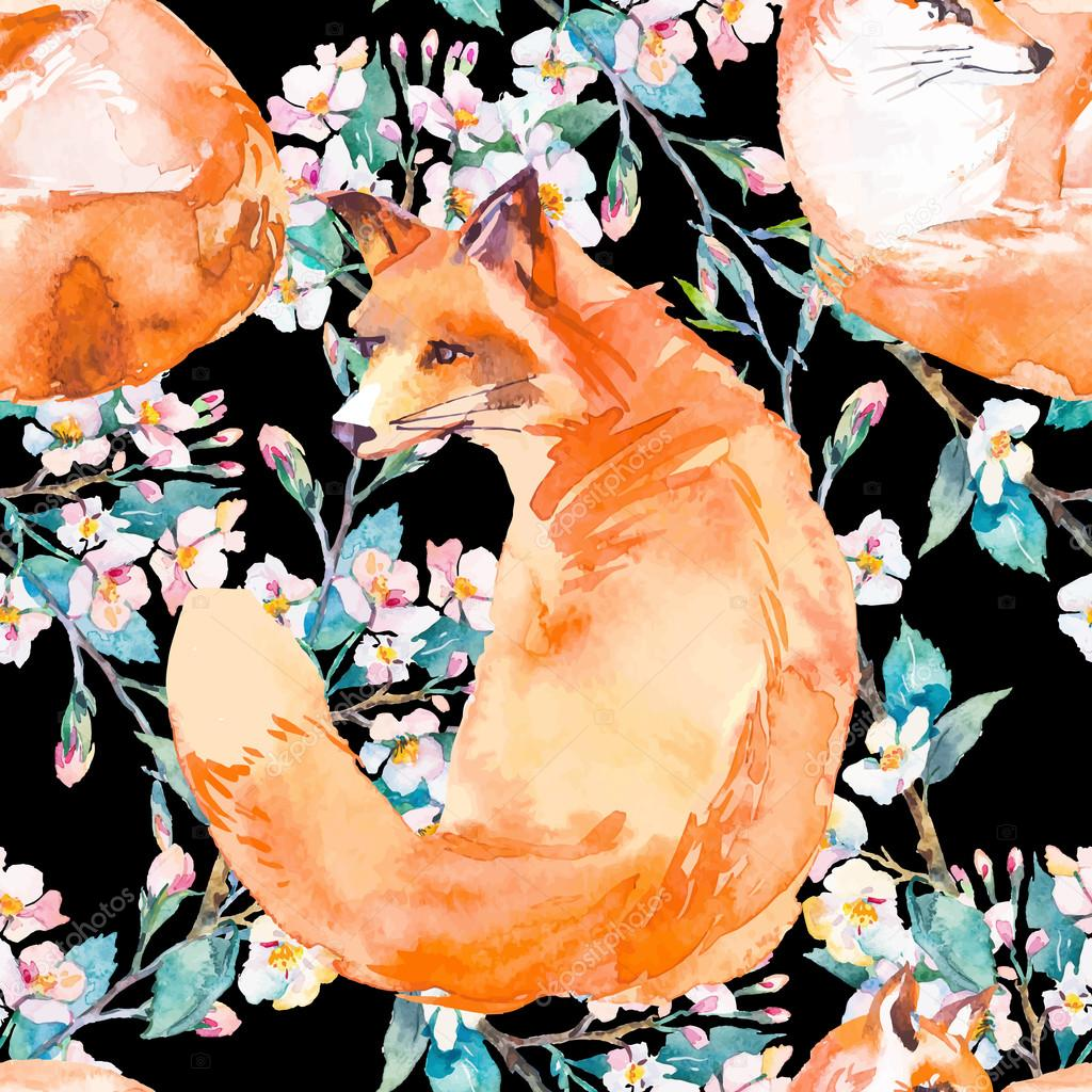 Wildlife pattern. Fox and flowering branches. Vector.