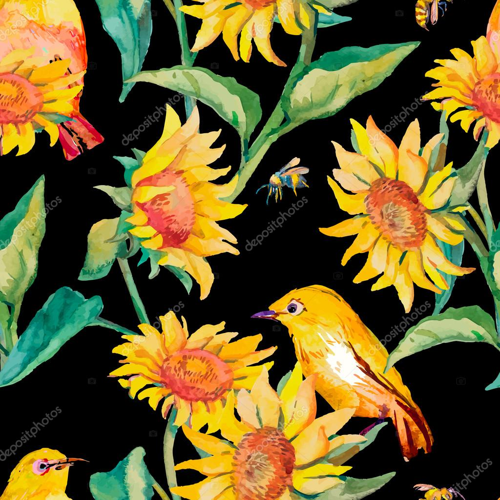 Watercolor pattern.White-eye bird and sunflower.