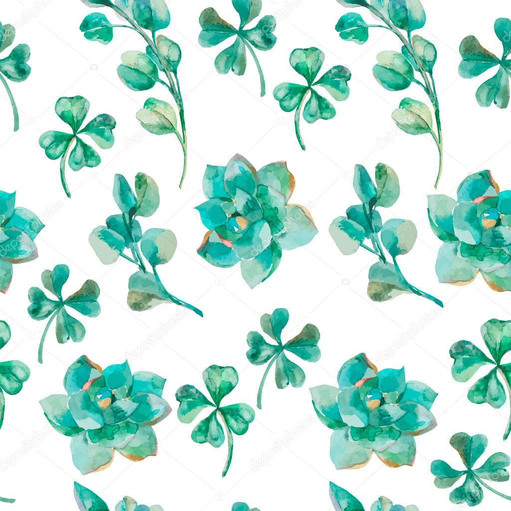 Watercolor vector eucalyptus leaves and branches, succulent, clover. Hand painted watercolor pattern. Shamrock.