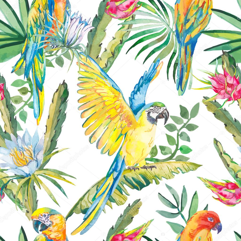 Parrots and exotic flowers. Macaw seamless pattern.Topical flower,leaves pitaya.Dragonfruit.