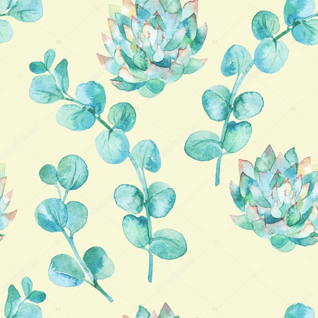 Watercolor eucalyptus leaves and succulent.