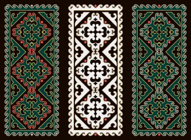 Asian ornaments collection. Historically ornamental of nomadic people. It based on real-Kazakh carpets of felt and wool.