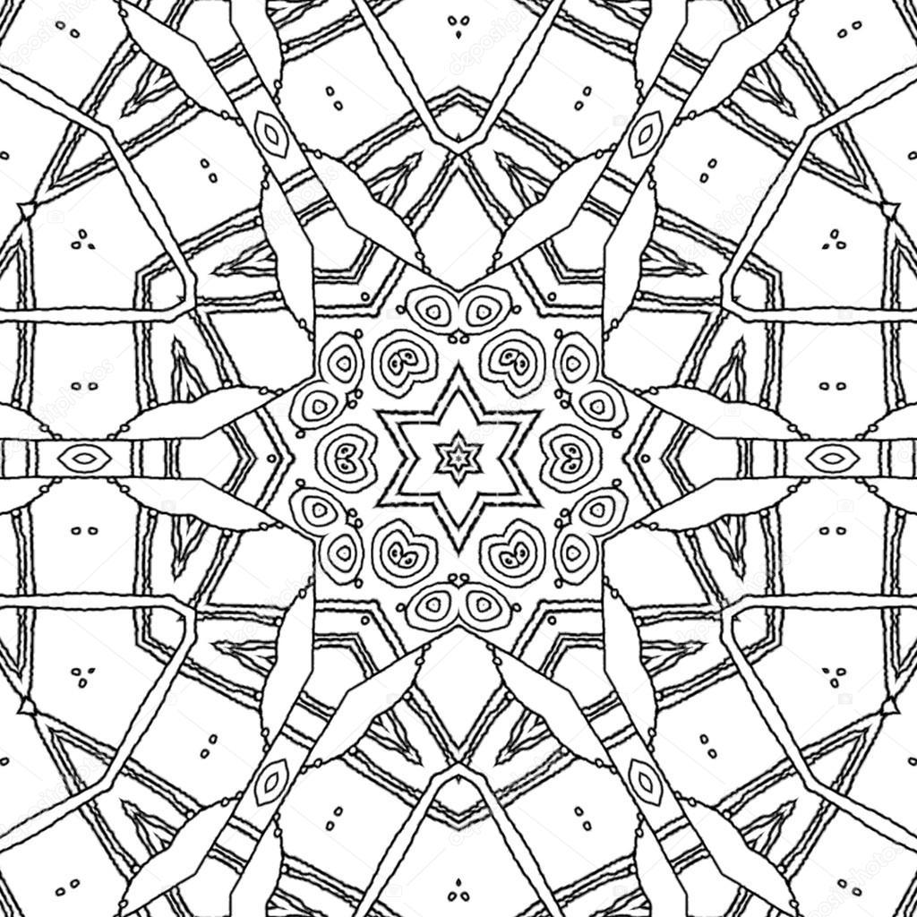 Boyama Sayfası Mandala Yıldız Ve Altıgen Süsleme Stok Foto Ur