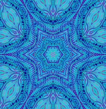 Seamless floral pattern blue purple