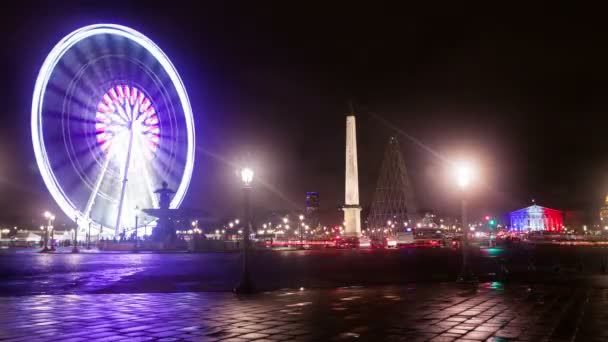 A Timelapse View on Ferris Wheel of Paris in France by Night