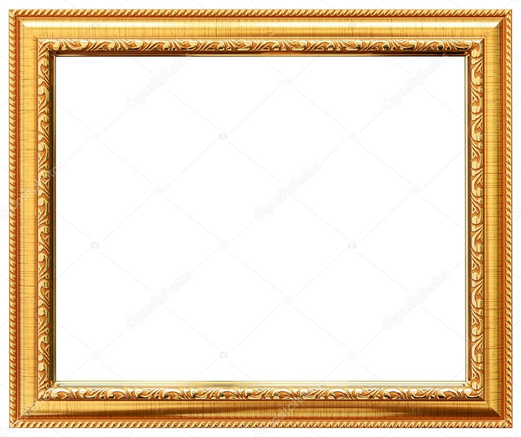 Wood Vintage Frame Isolated On White Simple Design Stock Photo