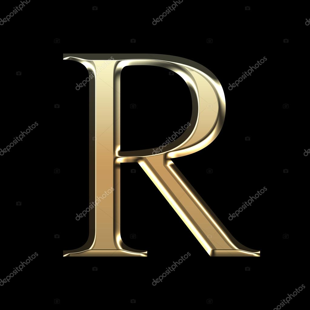 Golden Matte Letter R Jewellery Font Collection Stock Photo