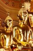 Sochy Buddhy, tvář zlata buddha, zblízka tváří zlata Buddhy, Thajsko, Asie