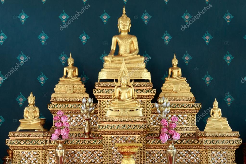 Set of home altar table. Buddha altar table. Set of buddha images ...