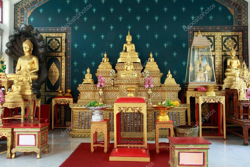 Buddha altar table set inside the Bangkok City Pillar Shrine in ...