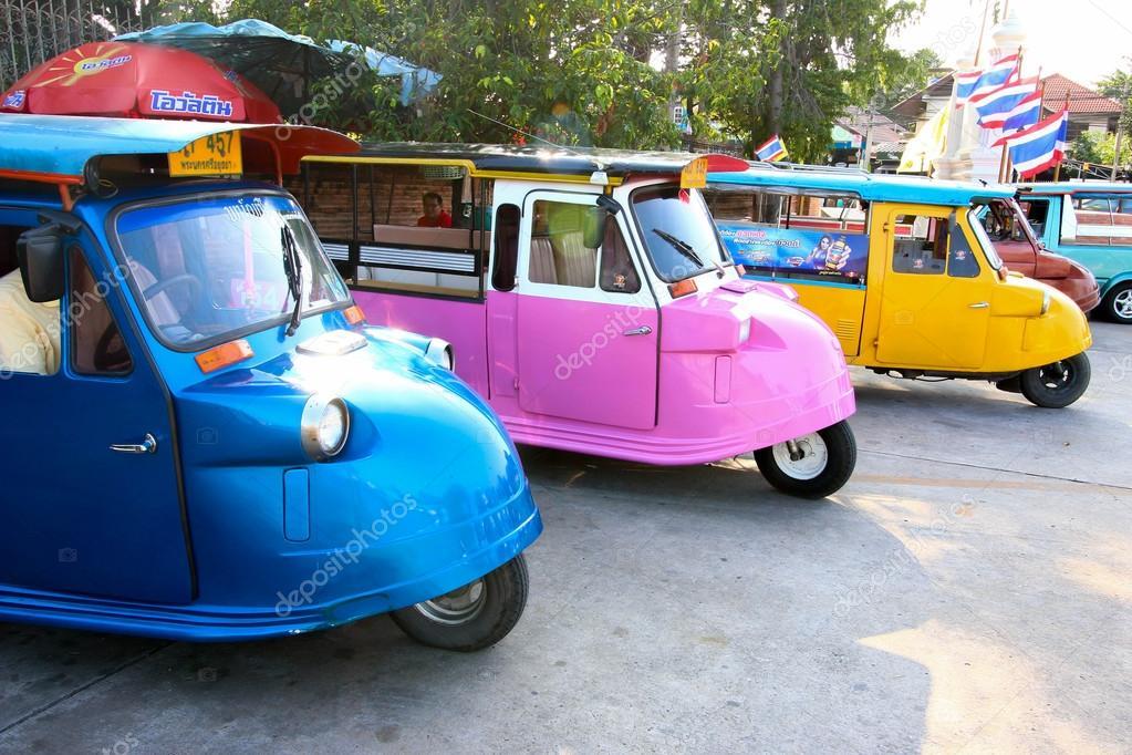 AYUTTHAYA, THAILAND - DECEMBER 12 :Motorized 3-Wheeler call Tuk Tuk, Transport in the old city on December 12, 2015 in Ayutthaya, Thailand