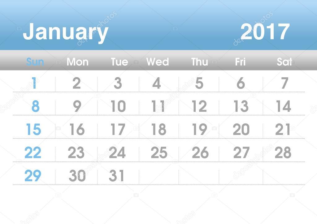 Planning calendar for January 2017