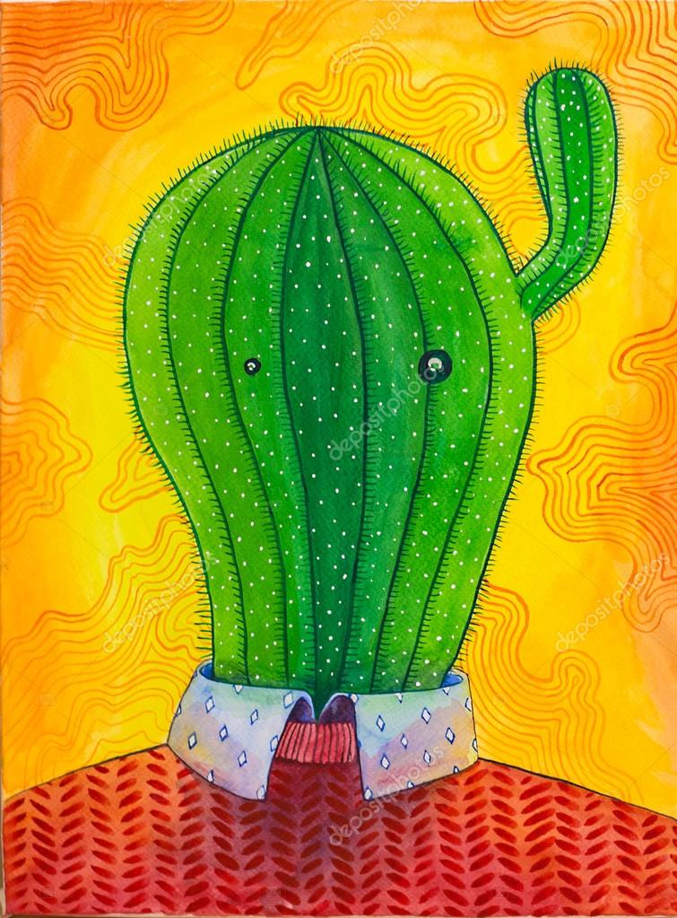 Mr Cactus colorful watercolor