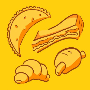 Vector set of bakery fast food