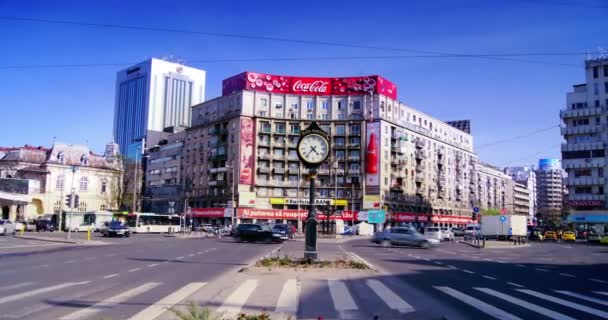 EDITORIAL Bucharest, Romania -  Circa April2016: The Roman Square on April 2016 in Bucharest, Romania.4k, time lapse, zoom in